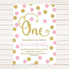 pink and gold 1st birthday invitation any age pink gold dots