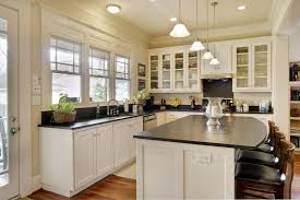 Vertical Sliding Windows Ideas Classic Kitchen Design With Black Honed Granite Kitchen