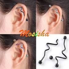 bar earring cartilage 2p steel 14g twist curved industrial bar barbell earring