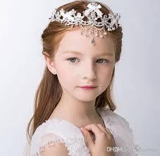 flower girl hair accessories clear bow tiaras pieces children hair flower