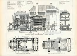 1895 antique german engraving of theater architecture the