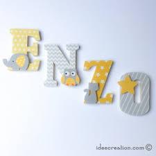 lettre chambre enfant lettres prénom en bois et tissu imprimé pour chambre enfant modèle