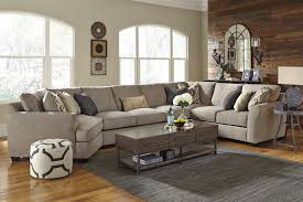 contemporary fabric living room sectional with cuddler