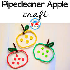 easy pipe cleaner and straw apple craft a dab of glue will do