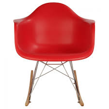 eames style rar molded red plastic rocking chair with steel eiffel