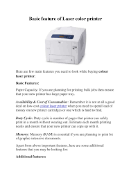 basic feature of laser color printer