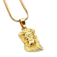 Engraving Necklaces Men Women Golden Bling Iced Out Engraving Jesus Pendants God Head
