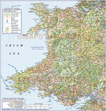 France Rail Map by Digital Vector Wales County Road Rail Plus Shaded Relief Map At