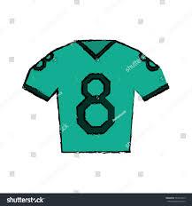 drawing green jersey american football tshirt stock vector