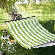 island bay 13 ft thick stripe pillow top 2 person double hammock