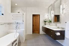 contemporary master bathroom with double sink u0026 high ceiling