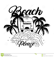 surf car clipart beach please hand written lettering with palms waves surf car