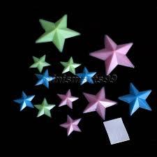 plastic 3d stars wall sticker home decor glow in the dark luminous