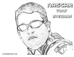 nascar coloring pages printable tony stewart banners english