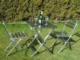 Metal Folding Patio Chairs by Uk Gardens Metal Folding Garden Bistro Set For Two Aluminium