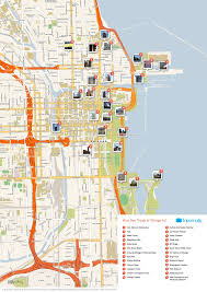 Chicago Map Poster by Map Of Chicago Attractions Tripomatic Com Places To Visit