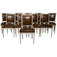 Leather Dining Room Chairs For Sale Set Of Ten French Louis Xvi Style Leather Dining Chairs At 1stdibs