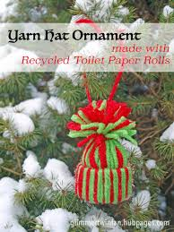 yarn hat ornament made with recycled toilet paper rolls craft