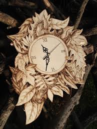 pyrography wood wall clock wood burning forest edition bmtl