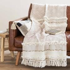 plaid canapé maison du monde jeté berbère en coton beige 160x210 maisons du monde