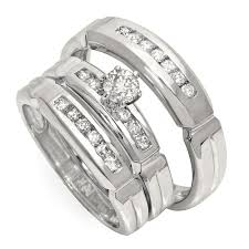 wedding band sets for him and luxurious trio marriage rings half carat cut diamond on gold