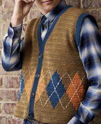 free vests knitting and crochet patterns for men