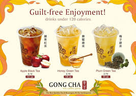 Teh Yuzu gong cha spills their calorie counts on the menu for less sinful