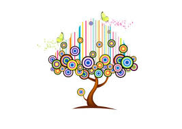 abstract tree design with flowers free animal vectors