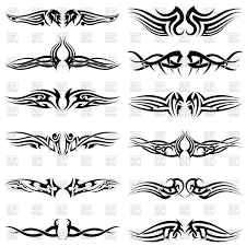 set of tribal tattoos vector image 108033 u2013 rfclipart