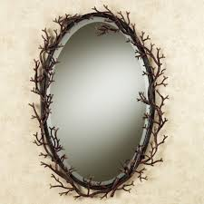 black oavl bathroom mirror with brown root accent of awesome oval