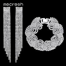 bridal earrings bracelet sets images Hot sale mecresh top crystal tassel bridal jewelry sets silver jpg