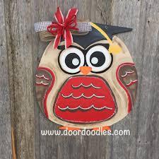 owl in graduation cap hat front door decoration hang hanger wreath