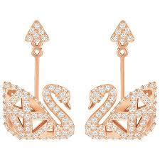 pierced earrings facet swan pierced earrings white gold plating gemorie
