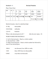sample decimal place value chart 12 documents in word pdf