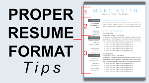 standard format of resume proper resume format resume formatting tips youtube