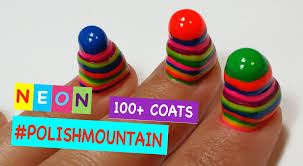 100 coats of nail polish on short nails polishmountain neon