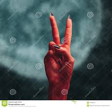 halloween horror background devil hand with peace hand sign stock photo image 44990342