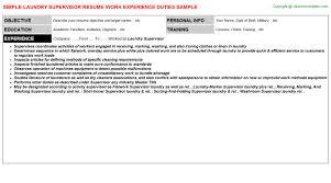 Supervisor Resume Sample by Laundry Supervisor Resume Sample