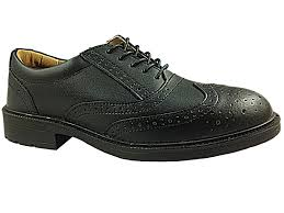 groundwork mens black brogue oxford leather safety steel toe cap