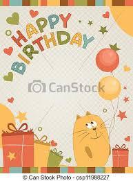 vector illustration of cute happy birthday card a cat happy