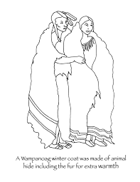 thanksgiving coloring page the the wanoag wore