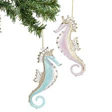 siena glass seahorse ornament set