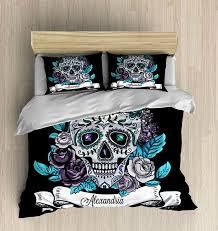 Personalized Comforter Set Skull Bedding Personalized Sugar Skull Bedding By Folkandfunky