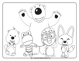 cartoon design pororo the little penguin coloring pages