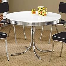 Amazoncom Coaster Retro Round Dining Kitchen Table In Chrome - Kitchen table retro