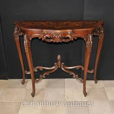 french regency demi lune console table marquetry inlay