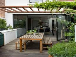 Patio Furniture For Small Spaces by Exterior Wooden Pergola With Climbing Plant In Modern Small Patio