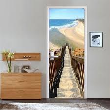 chambre gratuite livraison gratuite chaude plage escaliers porte stickers muraux