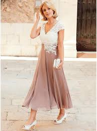 dress for wedding party a line princess v neck tea length chiffon lace of the