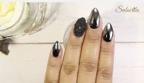 black nails chrome mirror effect nails 3d nail art short stiletto